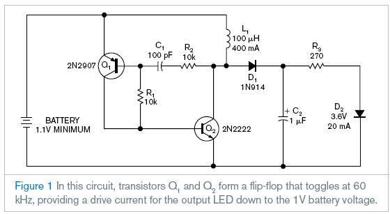 用略多于1v的电池电压继续运作,传输过去的电流减小了但是仍然可以